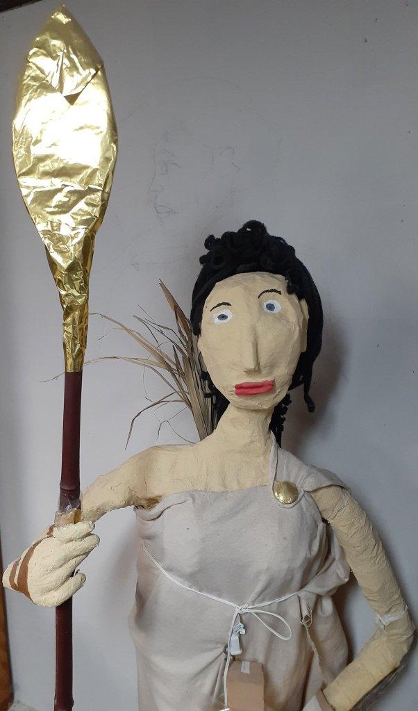 Paper mache statue of the Goddess Athena.