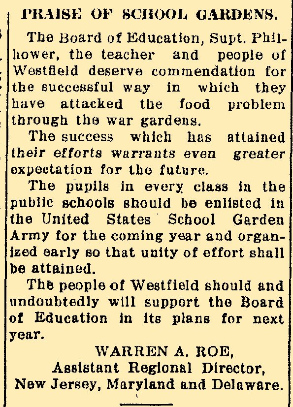 Newspaper article on gardens 1918.