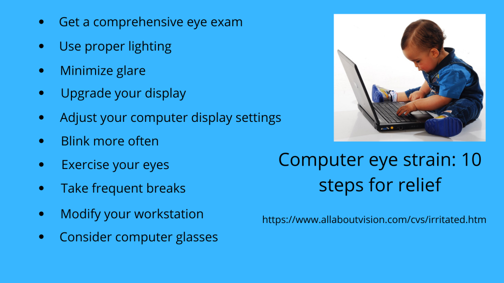 Graphic listing ten steps to help relive computer eye strain.