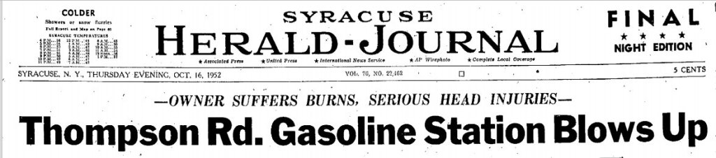 Front page Syracuse Newspaper, October 16,1952