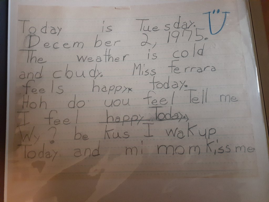 A piece of writing from a 2nd grade student.