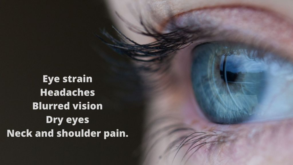 Graphic listing symptoms of Computer Vision Syndrome.